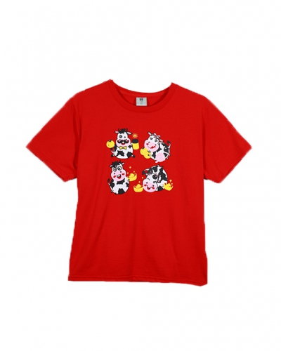 BOYS COW FAMILY GRAPHIC TEE IN RED
