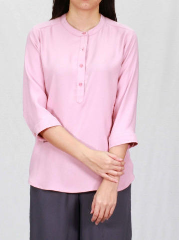 POLLY MANDARIN COLLAR 3/4 SLEEVE BLOUSE IN PINK