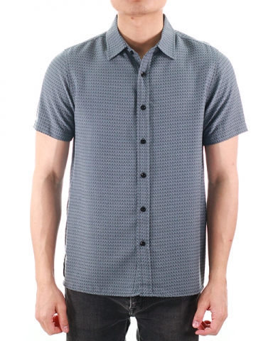 WESLEY COLLARED SHORT SLEEVE SHIRT IN DARK NAVY