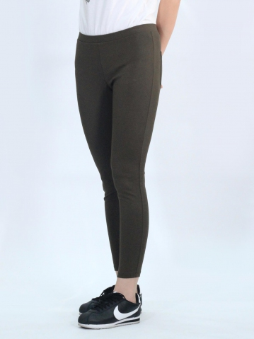 OLLIE KNITTED LONG JEGGING IN DARK ARMY