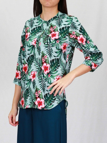POLLY PRINTED 3/4 SLEEVE BLOUSE IN LIGHT TEAL