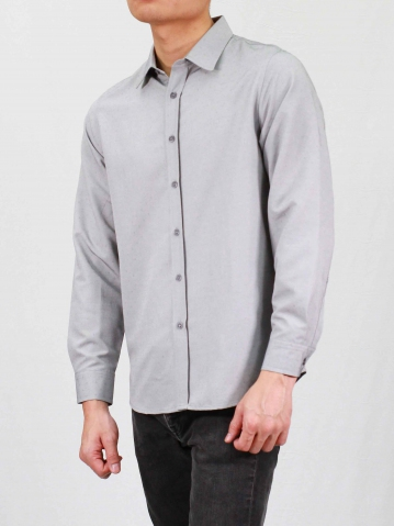 RHYAN COLLARED LONG SLEEVE SHIRT IN DARK GREY