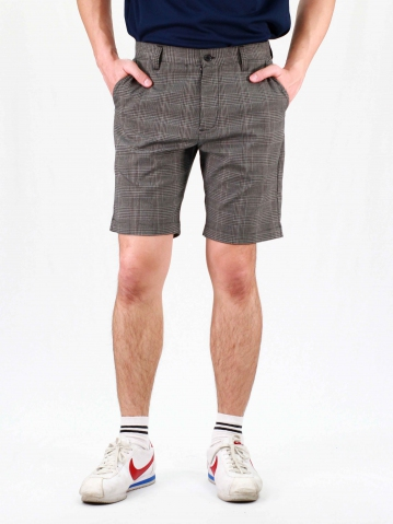 RHYAN CHECKED BERMUDA SHORTS IN DARK GREY
