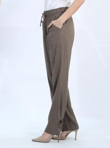 OLLIE SOLID EASY  LONG PANTS IN BROWN