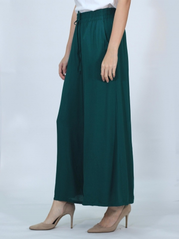 OLIVIA SOLID FLARED LONG PANTS IN DARK OLIVE