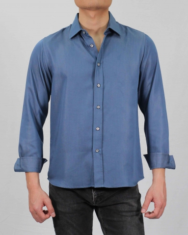 SEAN COLLARED LONG SLEEVE SHIRT IN DARK BLUE
