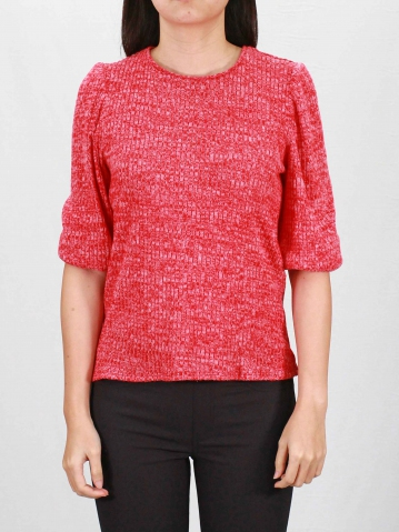 RAINE ROUND NECK PUFFED 3/4 SLEEVE TOP IN RED
