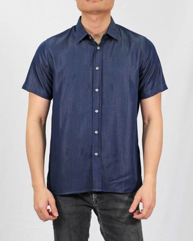 SEAN COLLARED SHORT SLEEVE SHIRT IN DARK NAVY