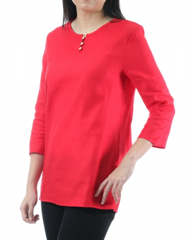 TINA ROUND NECK 3/4 SLEEVE BLOUSE IN RED