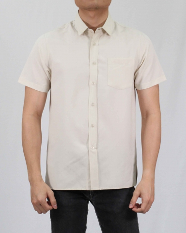 SCOTT COLLARED SHORT SLEEVE SHIRT IN LIGHT KHAKI