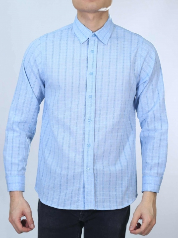 OWEN COLLARED LONG SLEEVE SHIRT IN LIGHT BLUE
