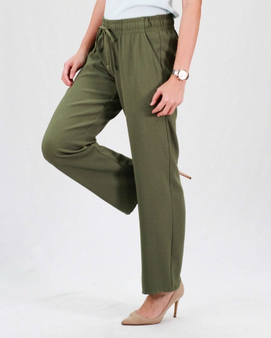 RAINE SOLID FLARED LONG PANTS IN DARK OLIVE