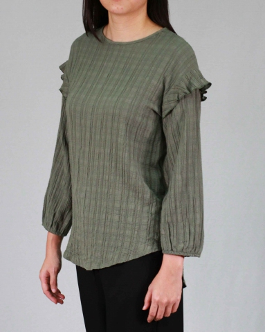 RAINE ROUND NECK 3/4 SLEEVE BLOUSE IN ARMY GREEN
