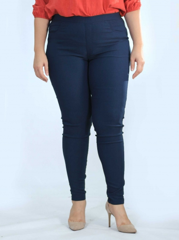OLIVE WOVEN LONG JEGGING IN DARK NAVY