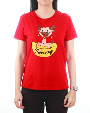 WOMEN MONEY COW GRAPHIC TEE IN RED