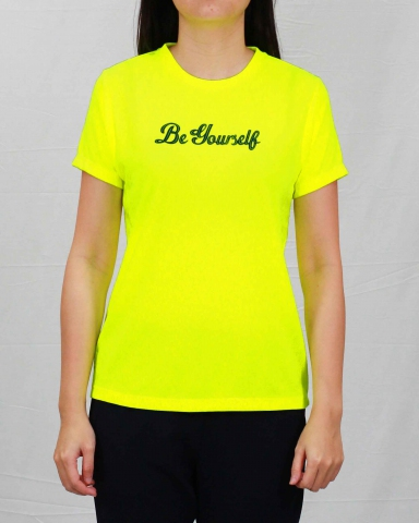 SARAH BE YOURSELF MICROFIBER TOP IN NEON YELLOW