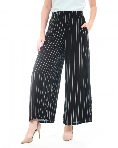 WALLIS PRINTED FLARED LONG PANTS IN BLACK