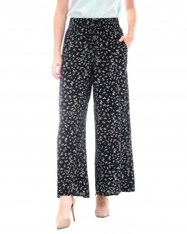 WALLIS PRINTED FLARED LONG PANTS IN IVORY