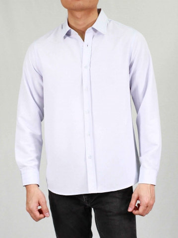 RHYAN COLLARED LONG SLEEVE SHIRT IN LILAC