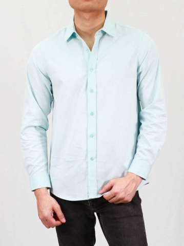 RHYAN COLLARED LONG SLEEVE SHIRT IN LIGHT BLUE