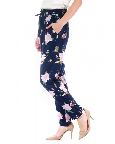 WALLIS PRINTED DRAWSTRING PANTS IN DARK NAVY