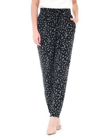 WALLIS PRINTED DRAWSTRING PANTS IN IVORY
