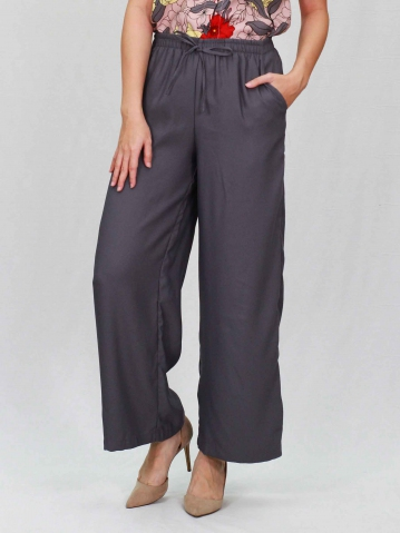 PAISLEY SOLID EASY  LONG PANTS IN DARK GREY