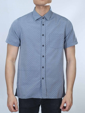 OSCAR COLLARED SHORT SLEEVE SHIRT IN DARK NAVY