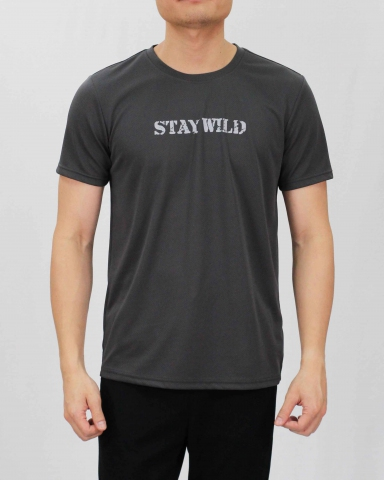 SEAN STAY WILD MICROFIBER TOP IN DARK GREY