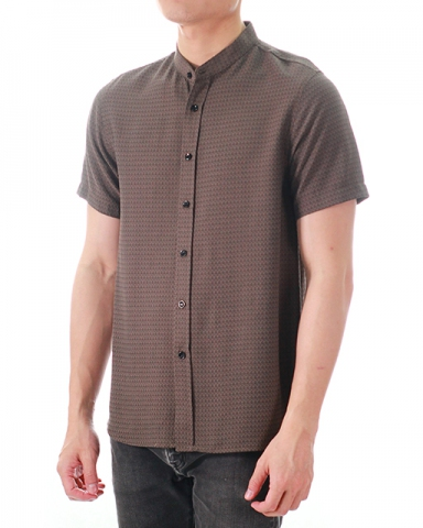 WESLEY MANDARIN COLLARED SHIRT IN DARK BROWN