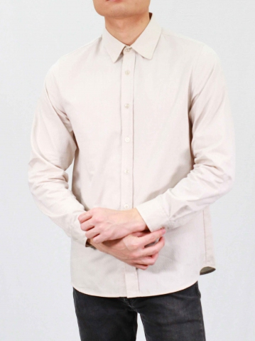 RHYAN COLLARED LONG SLEEVE SHIRT IN LIGHT KHAKI