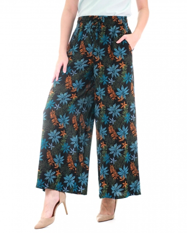 WALLIS PRINTED FLARED LONG PANTS IN MID BLUE
