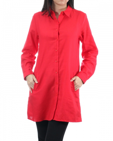 TINA COLLARED LONG SLEEVE LONG SHIRT IN RED