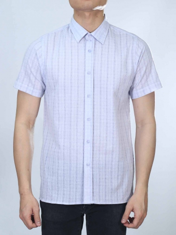 OWEN COLLARED SHORT SLEEVE SHIRT IN LILAC