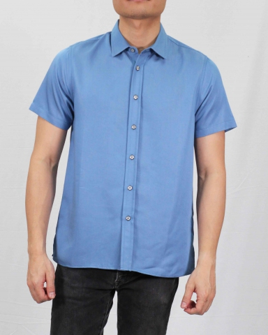 SEAN COLLARED SHORT SLEEVE SHIRT IN MID BLUE