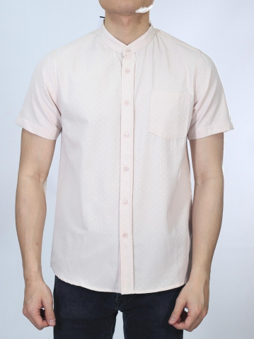 OSCAR MANDARIN COLLARED SHIRT IN PINK