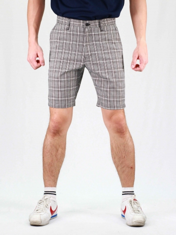 RHYAN CHECKED BERMUDA SHORTS IN BLACK