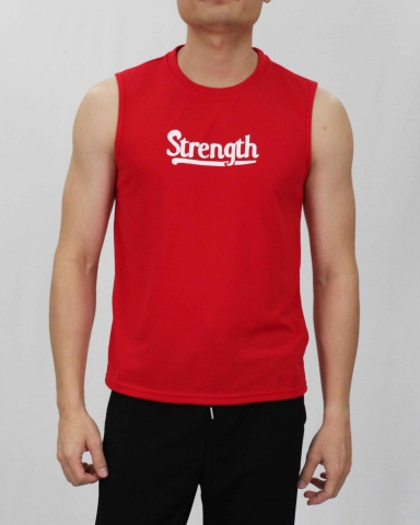 SCOTT STRENGTH MICROFIBER MUSCLE TEE IN RED