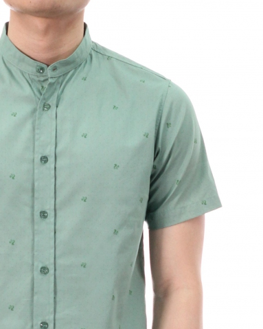 TONY PRINTED SHORT SLEEVE SHIRT IN DARK MINT