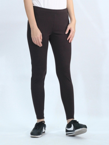 OLLIE KNITTED LONG JEGGING IN CHESTNUT