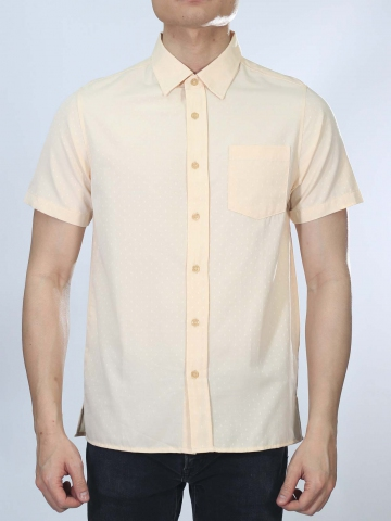 OSCAR COLLARED SHORT SLEEVE SHIRT IN LIGHT ORANGE