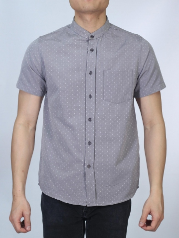 OSCAR MANDARIN COLLARED SHIRT IN MID GREY