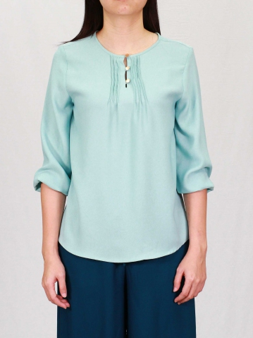 PAISLEY ROUND NECK 3/4 SLEEVE BLOUSE IN LIGHT TEAL