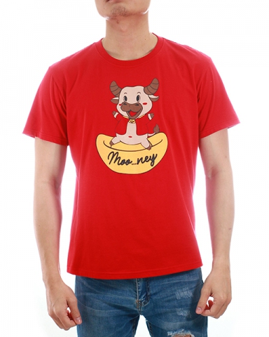 MEN MONEY COW GRAPHIC TEE IN RED