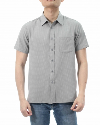 TONY COLLARED SHORT SLEEVE SHIRT IN MID GREY