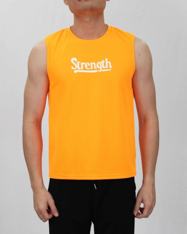SCOTT STRENGTH MICROFIBER MUSCLE TEE IN NEON ORANGE