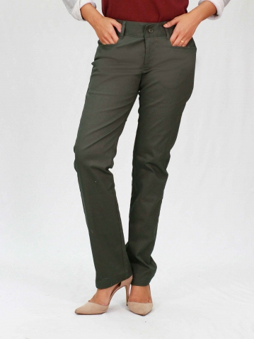 PAISLEY COTTON LONG PANTS IN DARK ARMY