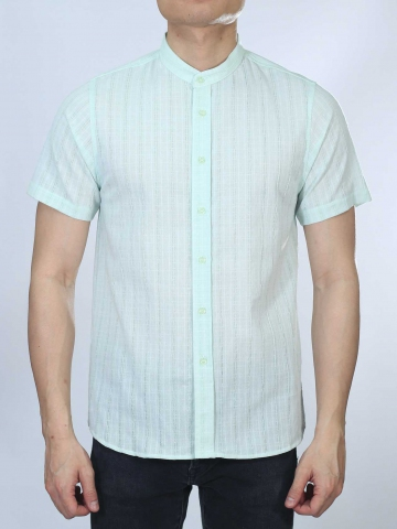 OWEN MANDARIN COLLARED SHIRT IN LIGHT GREEN