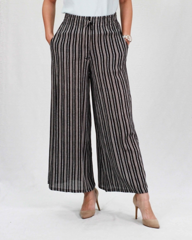 RAINE PRINTED FLARED LONG PANTS IN BLACK
