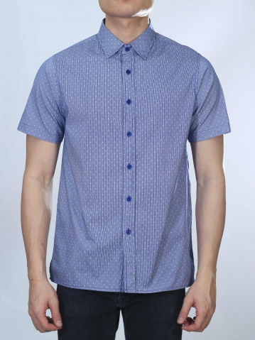 OWEN PRINTED SHORT SLEEVE SHIRT IN DARK BLUE